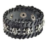 Läderarmband med rep och dödskalledetaljer i metall -Svart