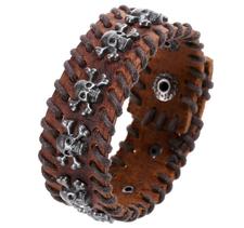 Läderarmband med rep och dödskalledetaljer i metall -Brun