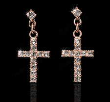 """Örhängen """"Crystal Cross"""" med Cubic Zircinia och i 18 K Guldplätering"""