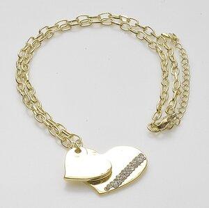 Tvåhjärtat halsband med insprängda stenar i det stora hjärtat och i pläterat guld