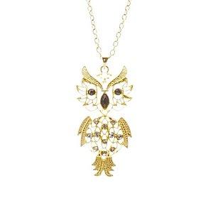 Väldigt detaljrikt halsband, uggla med vita och svarta stenar och i guldpläterat material