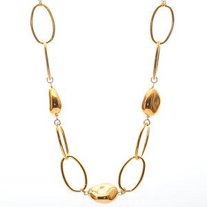 Smycke med stora ovala guldpläterade länkade kedjor tillsammans med fem stycken stora oregelbundna guldpläterade stenar