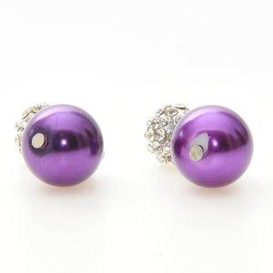 Örhängen med lila glaspärlor och blingande stenar