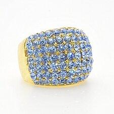 Ring med mängder av vackra blå stenar, pläterat guld