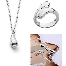 """Smyckeset  3 """"Droppe"""" i 925 Sterling Silverplätering -Halsband, Armband och Ring"""