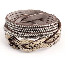 """Armband """"Snake"""" med Rhinestone och PU-läder  -Grå"""