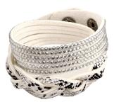 """Armband """"Snake"""" med Rhinestone och PU-läder  -Vit"""