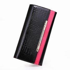 Handväska i äkta läder med Krokodilmönster -Svart/Rosa