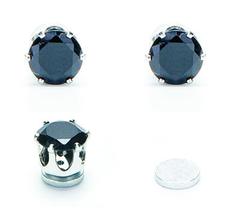 Örhänge med Svart Kristall i rosfritt stål med Magnet -Unisex -Du behöver inget hål i örat!