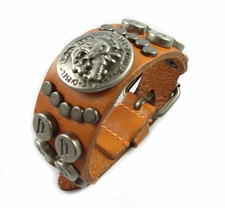 "Läderarmband ""Scull""  -Orange"