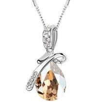 "Halsband ""Waterdrops"" i kristall och silverplätering -Champange"