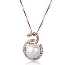 """Halsband """"Crystal Pearl"""" med Austrian Crystals och en Pärla i vitt eller bronsfärg samt  i 18 K guldplätering"""