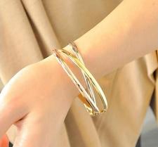 """Armband """"Three Colors"""" i 18 K rosenguld- och guldplätering samt rostfritt stål"""