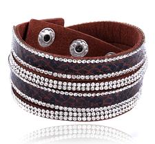 """Armband """"Snake"""" med Rhinestone och PU-läder  -Brun"""
