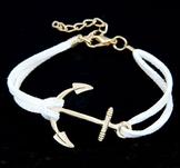 "Armband ""Golden Anchor"" -Vit"