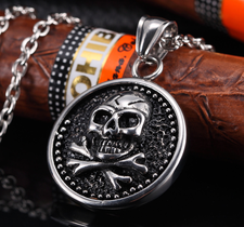 """Agent X  - Halskedja """"Skull Coin"""" i Rostfritt stål"""