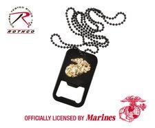 Dogtag med öppnare -Officiellt licenserad av US Marines -Svart