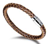 Flätat läderarmband med magnetlåsning i rostfritt stål -Brun