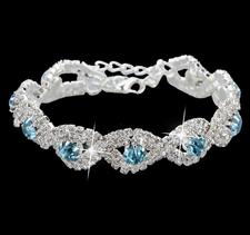 Armband med Cubic Zirconia och Austrian Crystals samt i 925 Sterling Silverplätering -Blå stenar