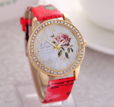 Klocka - Rose -Röd