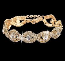 Armband med Cubic Zirconia och Austrian Crystals samt i 18 K Guldplätering -Vita stenar