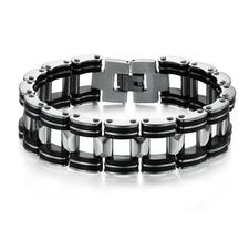 Armband i rostfritt stål och svart gummi