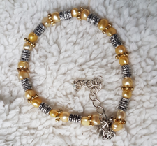 Craze Dee - Ankelkedja med pärlor, slipat glas och metallmellandelar