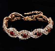 Armband med Cubic Zirconia och Austrian Crystals samt i 18 K Guldplätering -Röda stenar