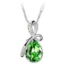 """Halsband """"Waterdrops"""" i kristall och silverplätering -Grön"""