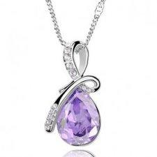 """Halsband """"Waterdrops"""" i kristall och silverplätering -Violett"""
