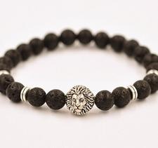 """Armband """"Buddha -Lion"""" -Svart Lava/Silver"""