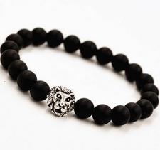 """Armband """"Buddha -Lion"""" -Svart/Silver"""