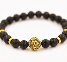 """Armband """"Buddha -Lion"""" -Svart Lava/Guld"""