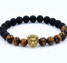 "Armband ""Buddha -Lion"" -Svart/Brun/Guld"