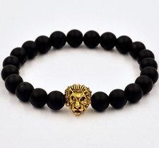 """Armband """"Buddha -Lion"""" -Svart/Guld"""