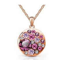 Halsband med Cubic Zircona och i 18 K Guldplätering -Rosa