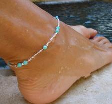 Ankelkedja -Turkosa pärlor och Silverpläterad kedja
