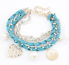 Armband med kristaller, pärlor, medaljonger och kedjor i olika utföranden -Blå