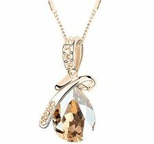"Halsband ""Waterdrops"" i kristall och guldplätering -Champange"