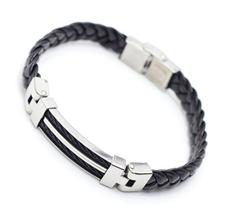 """Armband """"Wire"""" -svart i rostfritt stål och PU läder"""
