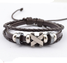 """Läderarmband """"Titanium Cross"""""""