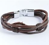 Läderarmband i flera lager med titaniumlåsning -Brun