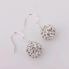 Shamballainspirerade Örhängen -Vita kristaller