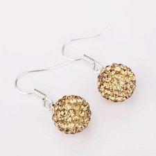 Shamballainspirerade Örhängen -Guldbruna kristaller