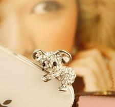 Dustproof -Silverpläterad Kristallkoala för t.ex. iphone och Samsungtelefoner