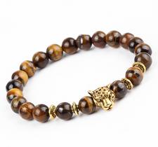 "Armband ""Buddha -Lion"" -Brun/Guld"