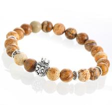 "Armband ""Buddha -Lion"" -Brun/Silver"