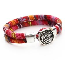 "Armband ""Tibetan"" i bomull -Orange/Röd/Rosa"